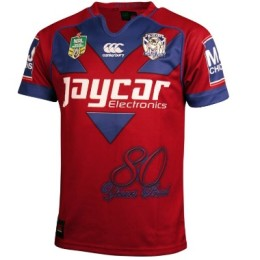 cantebury bulldogs 80 year red jersey